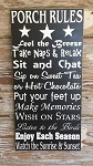 Porch Rules.  Subway Wood Sign